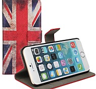 British Flag Pattern Genuine Leather Case with Stand and Card Slot for iPhone 6