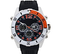 Men's Round Dial Sports Watch PU Strap LED Display Japanese Quartz Watch  Waterproof  Wrist Watch (Assorted Colors)