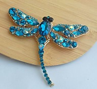 Women's Classic Alloy Gold-tone Turquoise Rhinestone Crystal Dragonfly Brooch Pin