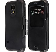 Protective PC and TPU Flip Open Case with Display Window for Samsung Galaxy S5 I9600