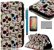 COCO FUN® Cute Skull Pattern PU Leather Full Body Case with Screen Protector, Stylus and Stand for Motorala Moto G