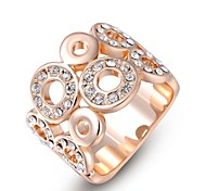 Small Pieces Simulated Diamond Austrian Crystals Rose/White Gold Plated Chinese Copper Happy Circle Finger Ring