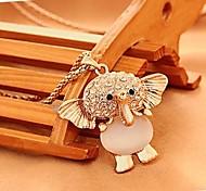 Beautiful Opals Set Auger Elephant Necklace