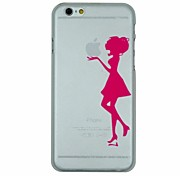 Girl Holding The Apple Pattern Transparent Back Cover Case for iPhone 6