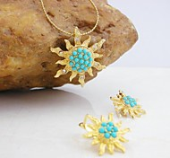 18K Gold Plated Turquoise/Pearl Sun Jewelry Set