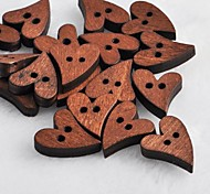 Heart Shaped Scrapbook Scraft Sewing DIY Wooden Buttons(10 PCS)