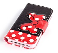 rot bowknot Muster Ganzkörper-Case mit Ständer für iPhone 4 / 4S