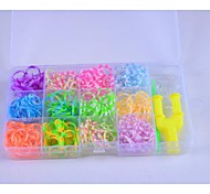 Rainbow Colorful Loom Style  Bands Set (600Pcs Rubber Bands,8 S,1Y,1Hook)
