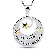 I FREE®Women's S925 Sterling Silver Star and Moon Shape with Box Chain Pendant Necklace 1 pc
