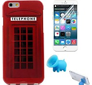 Telephone Booth Pattern TPU Soft Case with Stand and Protective Film for iPhone 6