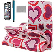 COCO FUN® Red Heart Pattern PU Leather Full Body Case for iPhone 6 6G 4.7 with Screen Protecter, Stand and Stylus