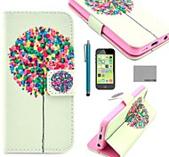 COCO FUN® Balloon Tree Pattern PU Leather Full Body Case with Screen Protector for iPhone 5C