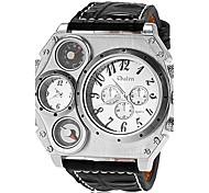 grosse montre cas double fuseaux horaires bracelet en cuir bracelet à quartz pour hommes (couleurs assorties)