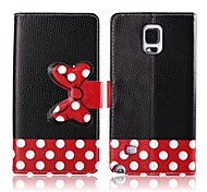 Black Background Vara Bow Pattern PU Leather Full Body Cover for Samsung Galaxy Note 4