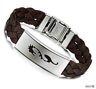 Weave 21.5cm Men Black Leather Stainless Steel Bracelet