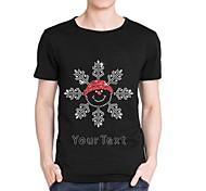 personifizierte Strass t-shirts Weihnachtsschneemann-Muster der Männer Baumwoll kurzen Ärmeln