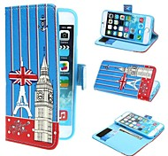 Eiffel Tower and Big Ben and Union Jack Flag PU Leather Case with Stand and Card Slot for iPhone 6