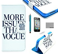 COCO FUN® Vogue Print Pattern PU Leather Full Body Case with Screen Protector, Stand and Stylus for iPhone 4/4S