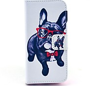 Glasses Dog Pattern Full Body Case with Stand for iPhone 5C
