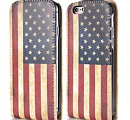 USA Flag Fashion Vertical Style Magnetic Flip PC+PU Leather Case for iPhone 6