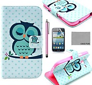 COCO FUN® Sleeping Owl Pattern PU Leather Case with Screen Protector and Stylus for Samsung Galaxy Core GT-I8260 I8262