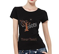 Personalized Rhinestone T-shirts Halloween Boo Pattern Women's Cotton Short Sleeves