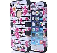 3 in 1 ibrida rosa fiore modello rigido posteriore del silicone molle della copertura della cassa misura per 5s iPhone (colori assortiti)