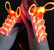 Long Bright Flash Slow Flash  Waterproof LED Shoelace Red (1-Pair)
