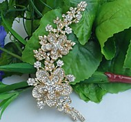 Women's Classic Alloy Gold-tone Clear Rhinestone Crystal Leaf Flower Bridal Brooch Pin