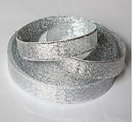 25 Yards 12mm Wide Gold or Silver Glitter Shiny Ribbon, Wedding Party DIY Glitter Shiny Ribbon