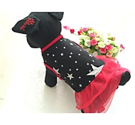 Dog Dress Red Black Dog Clothes Summer Spring/Fall Stars Casual/Daily