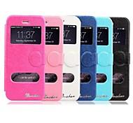 karzea® brilhante padrão janelas duplas TPU e estojo de couro pu com suporte e stylus para iphone 6 mais (cores sortidas)
