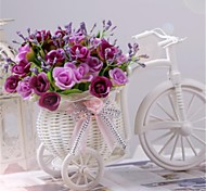 "8""H Modern Multicolor Roses in White Basket Bike"