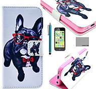 COCO FUN® Glasses Dog Pattern PU Leather Full Body Case with Screen Protector,Stylus and Stand for iPhone 5C