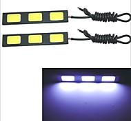 Carking Waterproof Aluminum 3-COB LED 4.8W White DRL Driving Daytime Running Light Lamp(2PCS)