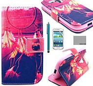 Coco Fun® patrón windbell rojo pu estuche de cuero con protector de pantalla y el lápiz para mini i8190 samsung galaxy s3