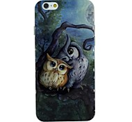 Two Owls on The Tree at Night Pattern TPU Soft Back Cover Case for iPhone 6
