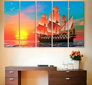Sunset At Sea Clock in Canvas 5pcs