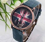 vintage britânico bandeira denim relógio de pulso de quartzo das mulheres