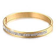 Fashion Double Lines Stone Gold Stainless Steel Tennis Bracelet(1 Pc)