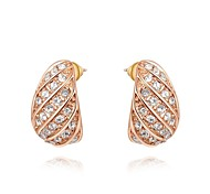 Unique 18K Rose/White Gold Plated Jewelry Use Shining Austria Crystal Eggplant Stud Earrings