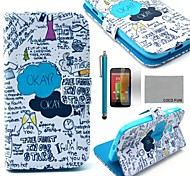 COCO FUN® Blue Graffiti Pattern PU Leather Full Body Case with Screen Protector, Stylus and Stand for Motorala Moto G