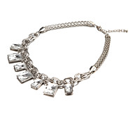 Fashion Nice Seven Rectangle Silver Alloy Choker Necklaces(1 Pc)