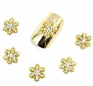 20PCS 3D False Diamond Rhinestone Glitter Gold Snowflake for Acrylic Nail Tips Nail Designs Nail Art Decorations