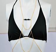 новых мужчин металлические цепи тела моды длинное ожерелье многоцветный шарик