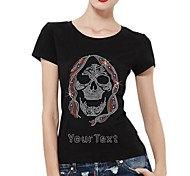 Personalized Rhinestone T-shirts Skull Pattern Women's Cotton Short Sleeves