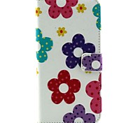 Colorful Flowers Pattern PU Leather Cover with Stand and Card Slot for iPhone6 Plus