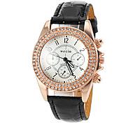 relógio de quartzo diamante caso pu moda banda analógica das mulheres (cores sortidas)