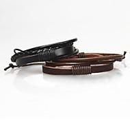 z&x® pulseras de cuero de la vendimia multilayers tibetano de los hombres (1pc, 2 opciones de los colores: negro, café)