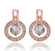 Fashion Ms Plating Rose Gold Diamond Earrings
